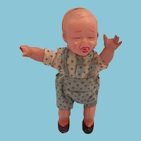 Rare 1930s 'Made in Japan' Mechanical Celluloid Crying 'White' Boy Doll