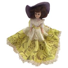 "Circa 1940s Hard Plastic 8"" Duchess Doll in Buttercup Yellow"