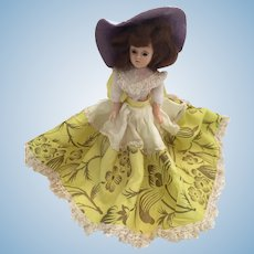 "Circa 1940s Hard Plastic 8"" Duchess Doll in Buttercup Yellow"