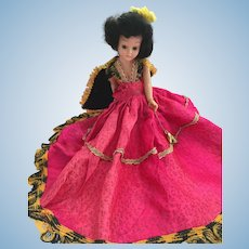 "Circa 1940s Hard Plastic 8"" Duchess Doll in Hot Pink"