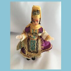 """1960s Turkish 7"""" Celluloid-style Doll in Traditional Costume"""