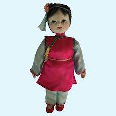 1960s 8 1/2 inch Stuffed Cloth Oriental Doll