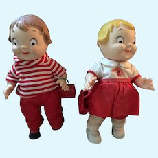 Pair of 10 Inch Campbell Soup Dolls from 1972