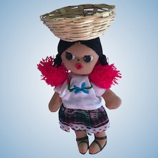 "1990s 8"" Mexican Girl Stuffed Cloth Doll"