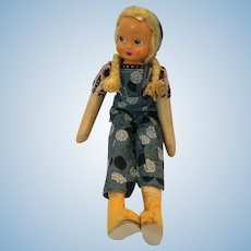 "Hand-Stitched 15"" Polish doll with a Celluloid Face"