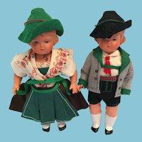 Circa 1930s-40s Pair of Schildkrot German Celluloid Dolls