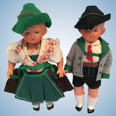 Circa 1930s-40s Pair of Schildkrot German Celluloid Dolls