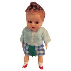 "Circa 1950s 4"" Hard Plastic Scottish Toddler"