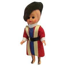"""3 1/2"""" Vintage Hard Plastic Vatican Swiss Guard Doll"""