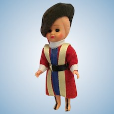 "3 1/2"" Vintage Hard Plastic Vatican Swiss Guard Doll"