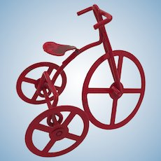 "2 1/2"" High Fully Fuctioning Vintage Red Metal Tricycle"