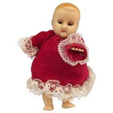 "Circa 1950s 4"" Hard Plastic Baby Doll with Sleep Eyes"