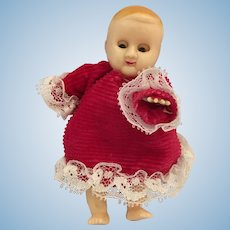 "Circa 1950s 4"" Hard Plastic Baby Doll with Sleep Eyes"