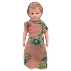 "Circa 1940s-50s  4"" Pink Hard Plastic Mature lady Doll"