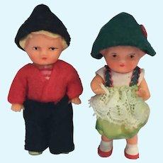 "Circa 1960s Pair of 3"" Vinyl Bavarian Children Dolls"