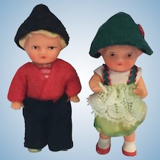 "Circa 1960s Pair of 3"" Vinyl Bavarian Children Dolls"