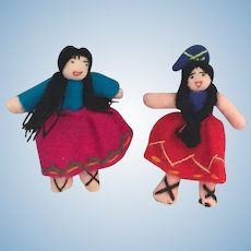 "Pair of circa 1990s  2 1/2"" Mexican Sister Cloth Dolls"