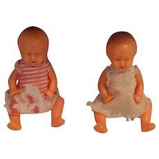 "Circa 1950s 2"" twin Hard-plastic German Twin Dolls"