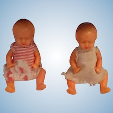 "Circa 1950s 2"" twin Hard-plastic German Twin Dolls"