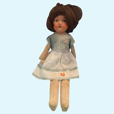 """Circa 1930s 16"""" Girl Doll with a Hand-painted Face and Straw Body"""