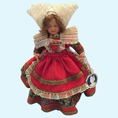 """8 1/2"""" 'Parisette' Costume doll by Petitcollin Celluloid Co., Paris France, circa 1920s"""
