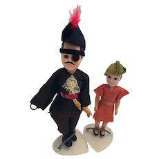 Circa 1940s Peter Pan and Captain Hook Hard Plastic Dolls