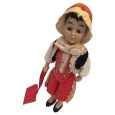 "Circa 1940s Hard Plastic 7"" Pinocchio Doll Ready for School"
