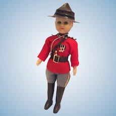 """Circa 1950s 8"""" Royal Canadian Mounted Police Souvenir Doll"""