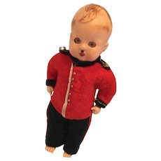 """Vintage 1940s 6"""" Hard Plastic Soldier Doll with a Hitler Mustache"""