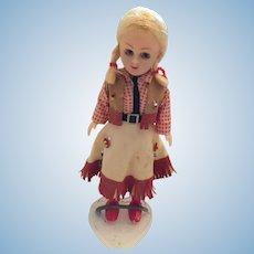 "Circa 1940s-50s 8"" Hard Plastic Cowgirl Doll"