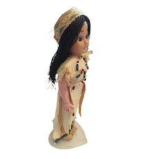 "Circa 1940s-50s Sweet  8"" Hard Plastic Indian Princess Doll"