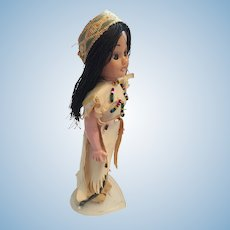 "Circa 1940s-50s Sweet  8"" Hard Plastic Indian Princess Doll"