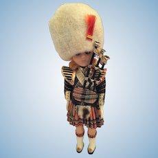 """Circa 1950s 8"""" Hard Plastic Female Scottish Piper Doll in Red Tartan Regalia"""