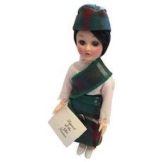 "Circa 1980s 8"" Hard Plastic Scottish Lassie Doll in Newfoundland Tartan"