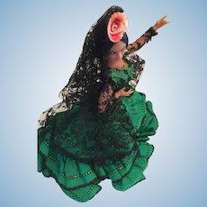 """Circa 1970s 7"""" Flamenco Dancer Doll in a Green Ruffled Gown"""