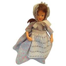 "Circa 1940s 7"" Peggy Nisbet Hard Plastic 'Girl in a Blue Dress' Doll"
