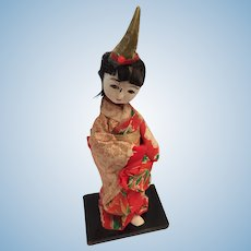 "7"" White Bisque Head Japanese Geisha on a Wooden Stand"