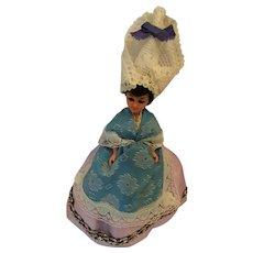 "Circa 1970s Hard Plastic 7"" Belgium Souvenir Doll with Tall Head Piece"
