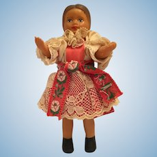 "1960s  6"" Vinyl Doll in Eastern European Traditional Costume"