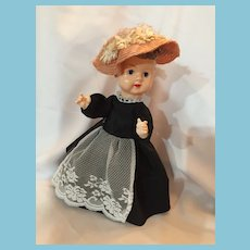 """1950s Celluloid 12"""" Lady Doll Who Looks Like 'Minnie Pearl'"""