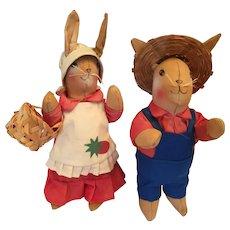 Lovely Pair of 1970s Stuffed Hand-made Cloth Rabbit Farmer Dolls