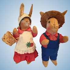 Lovely Pair of 1970s Stuffed Hand-made Cloth Rabbit Farmer Dolls