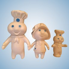 Circa 1970s Three Piece Pillsbury Doughboy Family including Poppin' Fresh