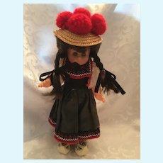 """Circa 1960s German 10"""" SCHWARZWALD Puppen (Doll) with Bollenhut Hat"""