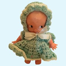 1950s Irwin Toy Company 'Little One' Doll with Green Crocheted Dress and Bonnet