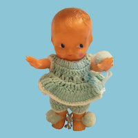 1950s 'Little One' Irwin Toy Doll in a Baby Blue Crocheted Outfit