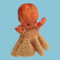 1950s Irwin Toy 'Little One' Hard Plastic Doll in a Crocheted Gown