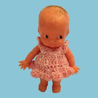 1950s Irwin Toy 'Little One' Hard Plastic Doll in a Pink Crochet Sunsuit