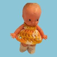 1950s Irwin Toy 'Little One' Hard Plastic Doll in a Crocheted Dress