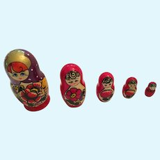 Vintage Set of Five Russian Stacking Matryoshka Dolls